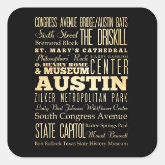 Ciudad de Austin del arte de la tipografía del Pegatina Cuadradas