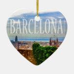 Ciudad de Barcelona Adorno Navideño De Cerámica En Forma De Corazón