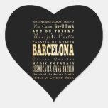 Ciudad de Barcelona del arte de la tipografía de E Calcomanía De Corazón Personalizadas