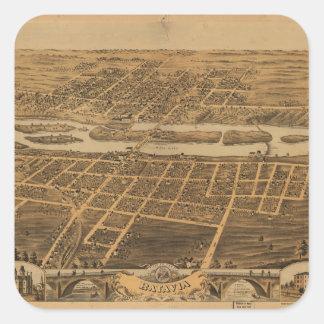 Ciudad de Batavia el condado de Kane Illinois Pegatina Cuadrada