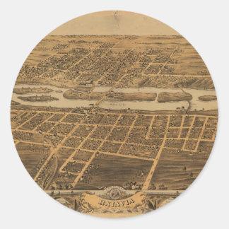 Ciudad de Batavia el condado de Kane Illinois Pegatina Redonda