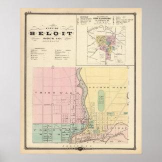 Ciudad de Beloit, roca Co y de Shullsburg Posters