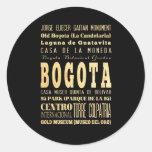 Ciudad de Bogotá del arte de la tipografía de Pegatina Redonda