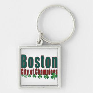Ciudad de Boston de campeones Llavero Cuadrado Plateado