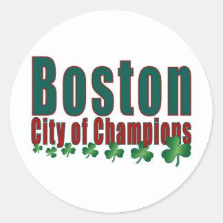 Ciudad de Boston de campeones Pegatina Redonda