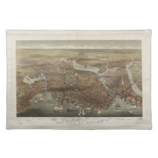 Ciudad de Boston Massachusetts 1873 Manteles Individuales