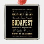 Ciudad de Budapest del arte de la tipografía de Adorno Navideño Cuadrado De Metal