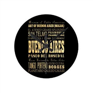 Ciudad de Buenos Aires del arte de la tipografía d Reloj Redondo Mediano