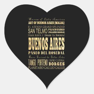 Ciudad de Buenos Aires del arte de la tipografía Pegatina En Forma De Corazón