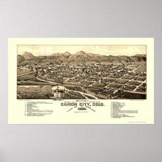 Ciudad de Canon, mapa panorámico del CO - 1882 Póster