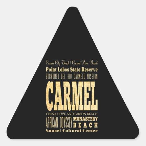 Ciudad de Carmel del arte de la tipografía de Pegatina Triangular