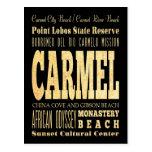 Ciudad de Carmel del arte de la tipografía de Postal