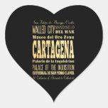 Ciudad de Cartagena del arte de la tipografía de Pegatina En Forma De Corazón
