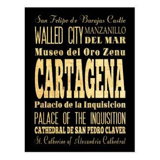 Ciudad de Cartagena del arte de la tipografía de Postales