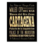 Ciudad de Cartagena del arte de la tipografía de Postal