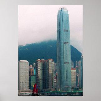 Ciudad de China Hong Kong que hace turismo Póster