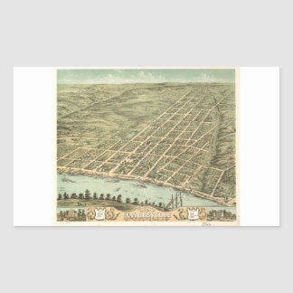 Ciudad de Clarksville Tennessee (1870) Pegatina Rectangular