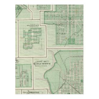 Ciudad de Columbus, Bartholomew Co con Greensburg Postales