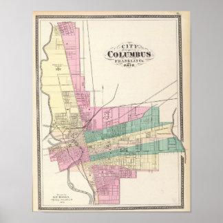 Ciudad de Columbus, el condado de Franklin, Ohio Póster