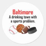 Ciudad de consumición de Baltimore A con un Pegatinas Redondas
