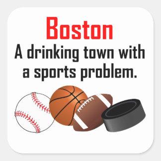 Ciudad de consumición de Boston A con un problema Pegatinas Cuadradas