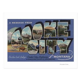 Ciudad de Cooke, Montana - escenas grandes de la Postal