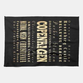 Ciudad de Copenhague del arte de la tipografía de  Toallas De Mano