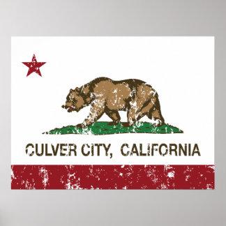 Ciudad de Culver de la bandera del estado de Calif Posters