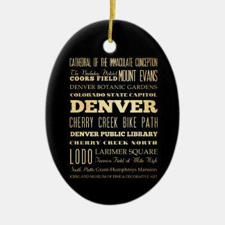 Ciudad de Denver del arte de la tipografía del Adorno Navideño Ovalado De Cerámica