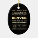 Ciudad de Denver del arte de la tipografía del est Ornaments Para Arbol De Navidad