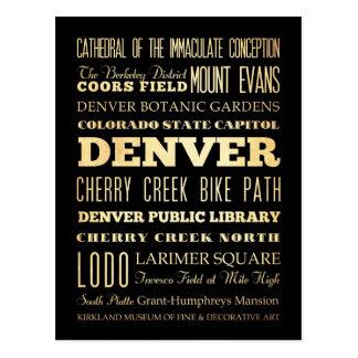 Ciudad de Denver del arte de la tipografía del Postales