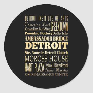 Ciudad de Detriot del arte de la tipografía del Etiquetas Redondas