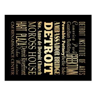 Ciudad de Detriot del arte de la tipografía del Postal