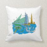 ciudad de Dubai ningún viaje gráfico azul design.p Cojines