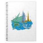 ciudad de Dubai ningún viaje gráfico azul design.p Libreta