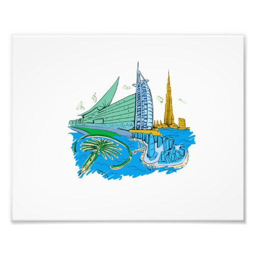 ciudad de Dubai ningún viaje gráfico azul design.p Fotografia