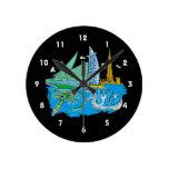ciudad de Dubai ningún viaje gráfico azul design.p Relojes De Pared