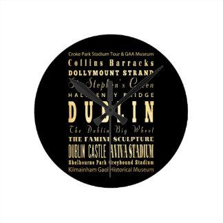 Ciudad de Dublín del arte de la tipografía de Irla Reloj Redondo Mediano