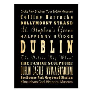 Ciudad de Dublín del arte de la tipografía de Irla Postal