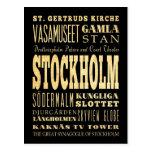 Ciudad de Estocolmo del arte de la tipografía de Postal