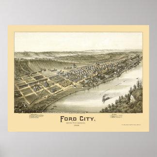 Ciudad de Ford, mapa panorámico del PA - 1896 Posters