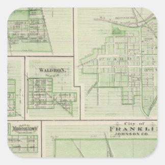 Ciudad de Franklin, Johnson Co con Shelbyville Pegatinas Cuadradases