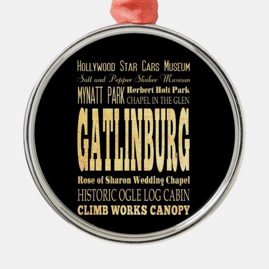 Ciudad de Gatlinburg del arte de la tipografía de Adorno Navideño Redondo De Metal
