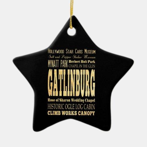 Ciudad de Gatlinburg del arte de la tipografía de Adorno De Cerámica En Forma De Estrella