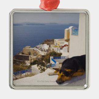 Ciudad de Grecia, isla de Santorini, Oia, el Adorno Cuadrado Plateado