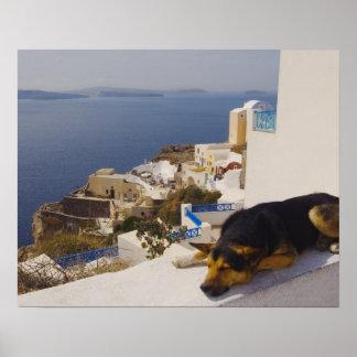 Ciudad de Grecia, isla de Santorini, Oia, el dormi Póster