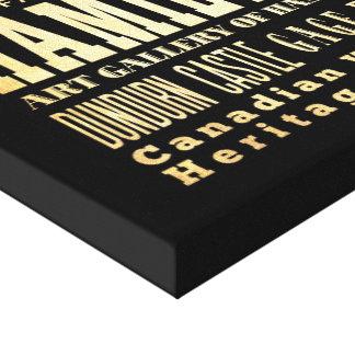 Ciudad de Hamilton del arte de la tipografía de On Impresiones En Lienzo Estiradas