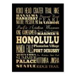 Ciudad de Honolulu del arte de la tipografía del Tarjeta Postal