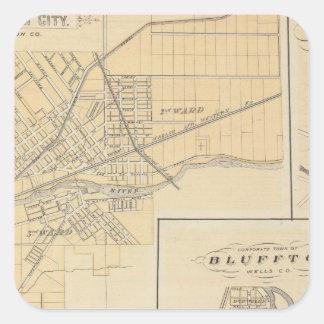 Ciudad de Huntington, Huntington Co Pegatina Cuadrada