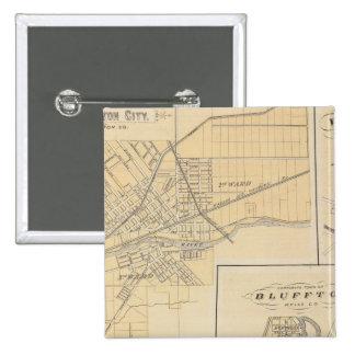 Ciudad de Huntington, Huntington Co Pin Cuadrada 5 Cm